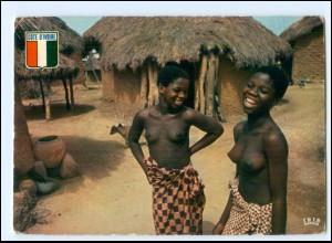 Y19070/ Senufo Frauen nackt Afrika AK