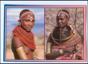 Y19076/ African Tribe Frau nackt Afrika AK