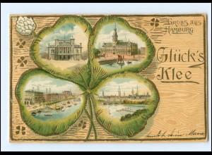 XX13617/ Gruß aus Hamburg Kleeblatt Litho Golddruck AK 1904