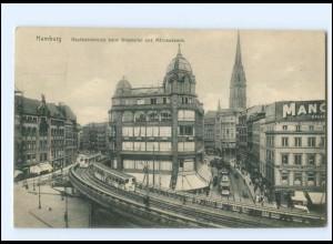 Y19274/ Hamburg Hochbahn Beim Graskeller Straßenbahn AK 1914