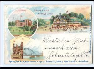 Y19276/ Gruß aus Hamburg Litho AK Werbung. Cigarrenfabrik H. Griese, 1898