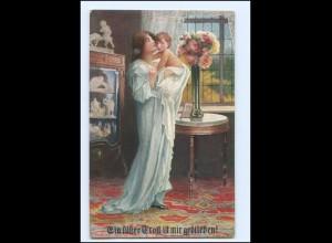 """Y19278/ Mutter und Kind """"Ein süsser Trost"""" Künstler AK ca.1915"""