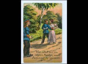 Y19280/ Soldat mit Frau Humor AK ca.1912