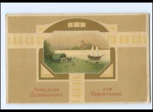Y19283/ Geburtstag schöne Litho Prägedruck AK 1911 Jugendstil