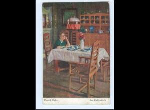 Y19293/ Frau am Kaffeetisch Künstler AK Rudolf Weber 1915