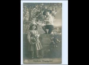 Y19294/ Pfingsten Kinder schöne Foto AK 1917