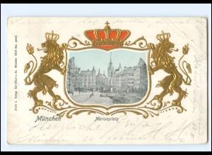 V1831/ München Marienplatz Wappen Gold- und Prägedruck AK 1902