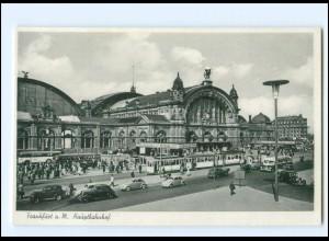 Y19313/ Frankfurt M. Hauptbahnhof Straßenbahn Autos VW Käfer AK 1952