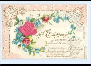 Y19301/ Geburtstag Blume in Seide Litho Prägedruck AK 1903