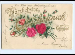 Y19303/ Blumen in Seide Geburtstag Litho Prägedruck AK 1902
