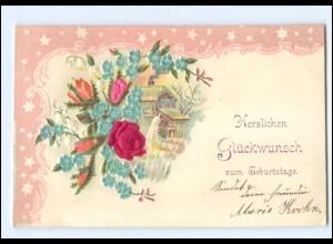 Y19304/ Blumen in Seide Geburtstag Litho Prägedruck AK 1901