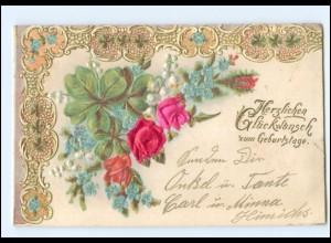 Y19305/ Blumen in Seide Geburtstag Litho Prägedruck AK 1903