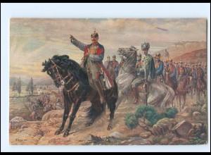 Y19361/ Kaiser Wilhelm an der Spitze seiner Heerführer Rotes Kreuz WK1 AK