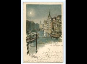 Y19320/ Gruß aus Hamburg Fleet a.d. Deichstraße Litho Glimmer AK 1900
