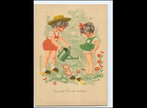 Y19231/ Erhard Schmidt AK Kinder gießen Blumen Gießkanne ca. 1955