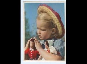 Y19257/ Hübsches Mädchen mit Puppe Nr. 1235 AK 50er