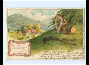 Y19380/ Wanderer Wandern schöne Litho AK 1903