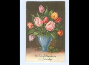 Y19392/ Geburtstag Blumenvase Litho AK 1935 Verlag: Rokat