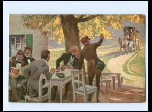 Y19410/ Volkslieder AK von Paul Hey Postkutsche, Studenten ca.1914