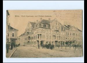 V1825/ Mitau Stadt-Sparkasse u. Polizei-Gebäude AK Lettland 1916