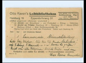 Y19437/ Hamburg Eppendorf Otto Kaven`s Leibibliothek 1925 AK