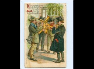 Y19441/ Geburtstag Männer musizieren Trompete Litho Präge AK 1906