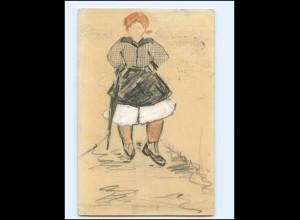 Y19488/ Handgemalte AK Frau mit Schirm 1915