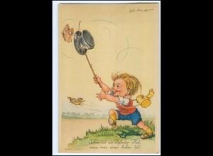 Y19467/ Kind Schmetterling schöne Künstler AK 1955