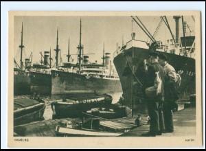 Y19470/ Hamburg Hafen Schiffe Hafenarbeiter AK ca.1940