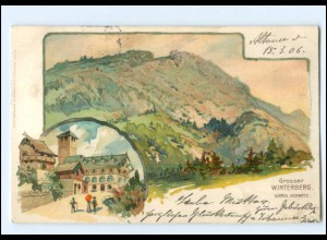 XX13751-018/ Großer Winterberg sächs. Schweiz bei Schandau Litho AK 1906