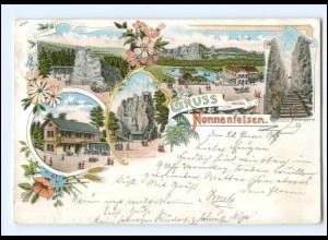 XX13752-027/ Gruß von den Nonnenfelsen bei Johnsdorf Litho AK 1897