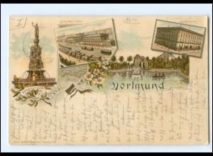 XX13759/ Gruß aus Dortmund mit Bahnhof Litho AK 1894