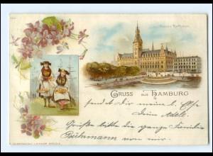 XX13761/ Gruß aus Hamburg Vierländerin Litho AK 1898