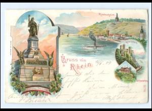 XX13763/ Gruß vom Rhein Rüdesheim National-Denkmal Litho AK 1899