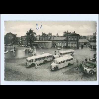 XX14086/ Leer Am Bahnhof Omnibusse AK ca.1955