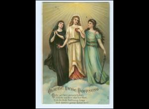 XX14015/ Schutzengel - Glaube, Liebe, Hoffnung - Litho Prägedruck AK 1908