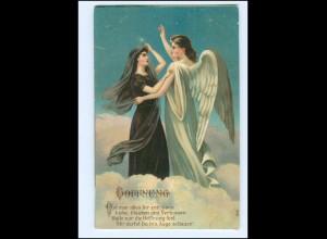 XX14014/ Schutzengel - Hoffnung - Litho Prägedruck AK 1908