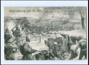 XX14039/ Beschießung von St. Die. 1. Weltkrieg Soldaten 1918 AK
