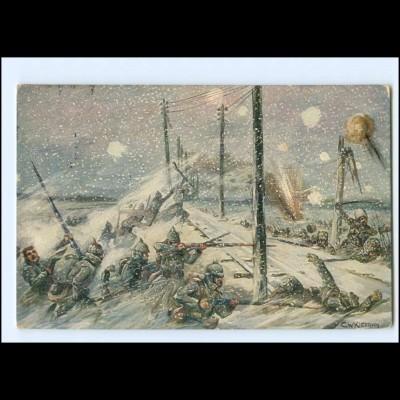 XX14040/ Schneesturm in Russ.-Polen Soldaten kämpfen Germanen-Karte WK1 AK