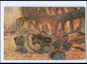 XX14041/ Kämpfe in Hohenstein Ostpreußen Soldaten Germanen-Karte WK1 AK 1915