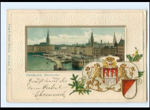 XX13893/ Hamburg Alsterpavillon Wappen Litho Prägedruck AK 1906