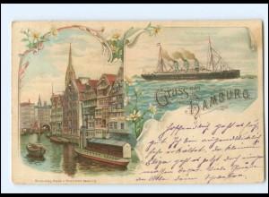 XX13891/ Gruß aus Hamburg Fleet, Dampfer Litho AK 1899