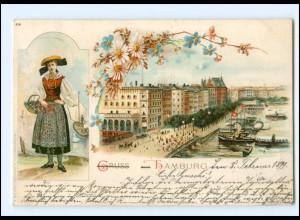 XX13876/ Gruß aus Hamburg Vierländerin Litho AK 1899
