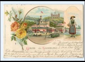 XX13919/ Gruß aus Hamburg St. Pauli Fährhaus Vierländerin Litho AK 1904