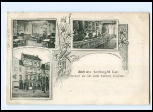 XX13911/ Hamburg St. Pauli Reeperbahn, Konditorei u. Cafe G. Kohlmann AK 1907