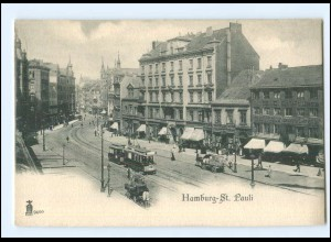 XX13907/ Hamburg St. Pauli Reeperbahn Straßenbahn AK ca.1905