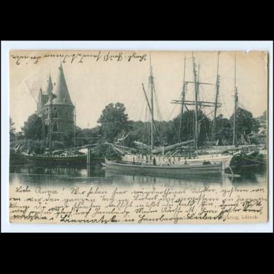 XX14071/ Lübeck Hafen Segelschiffe AK 1900