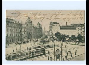 XX14269/ Dresden Postplatz Straßenbahn AK 1909