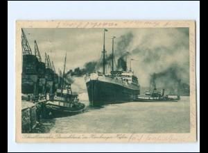 XX14277/ Dampfer Deutschland im Hamburger Hafen AK 1925