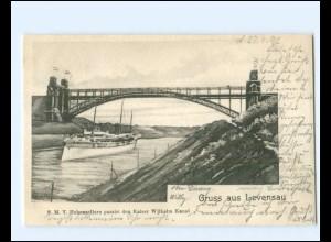 XX14278/ S.M.Y. Hohenzollern bei Levensau Kaiser Wilhelm-Kanal AK 1902